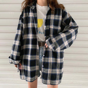 New Arrival Women Vintage Oversized Harajuku Plaid Shirt Batwing Sleeve Button Up Retro Long Blouse Brushed Feminina Blusa T0540 - X-Marks