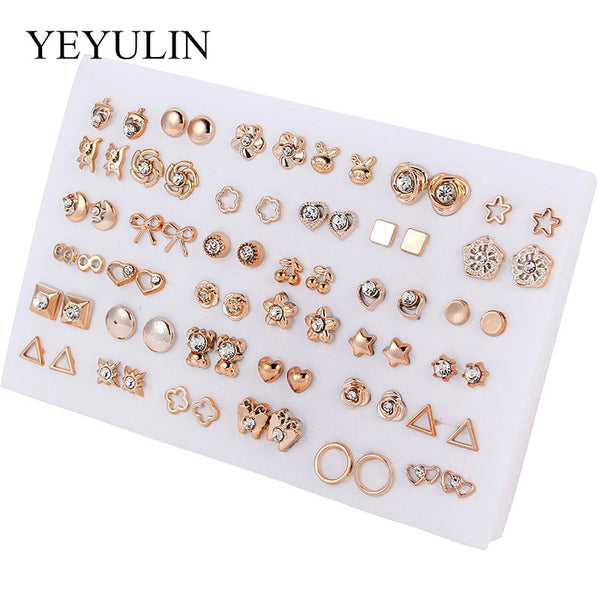 36Pairs/18pairs Earrings Mixed Styles Rhinestone Sun Flower Geometric Animal Plastic Stud Earrings Set For Women Girls Jewelry - X-Marks