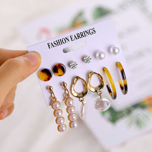 2020 Vintage Pearl Twist Big Circle Earrings Set for Women Fashion Geometric Imitation Pearl Crystal Earrings Jewelry - X-Marks