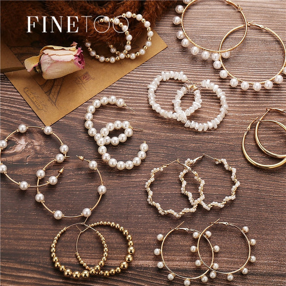 Simple Plain Gold Color Metal Pearl Hoop Earrings Fashion Big Circle Hoops Statement Earrings for Women Party Jewelry - X-Marks