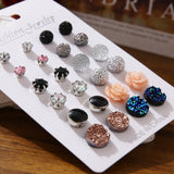 EN 12 Pairs Flower Women'S Earrings Set Pearl Crystal Stud Earrings Boho Geometric Tassel Earrings For Women 2020 Jewelry Gift - X-Marks