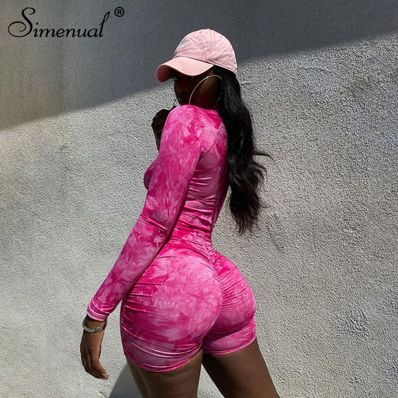 Simenual Tie Dye Ruched Casual Biker Shorts Rompers Women Long Sleeve Workout Active Wear Skinny Playsuit Fashion Bodycon 2020 - X-Marks