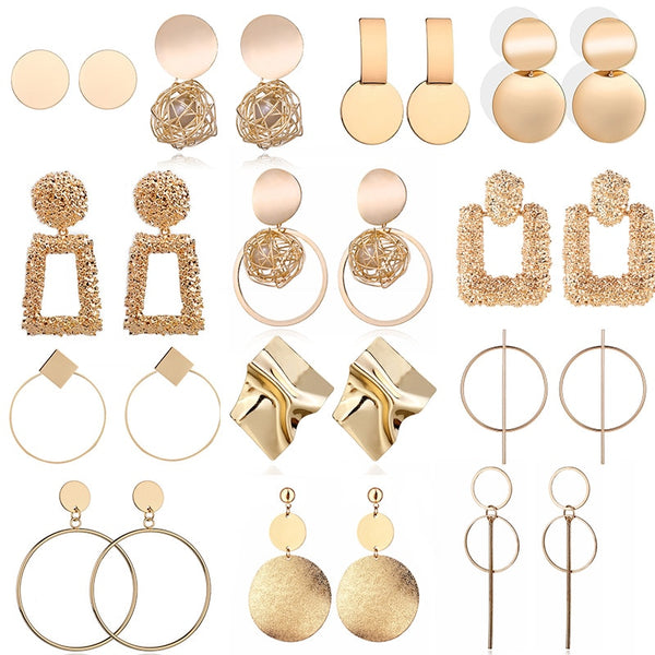 Fashion Statement Earrings 2019 Big Geometric Round Earrings For Women Hanging Dangle Earrings Drop Earing Modern Female Jewelry - X-Marks