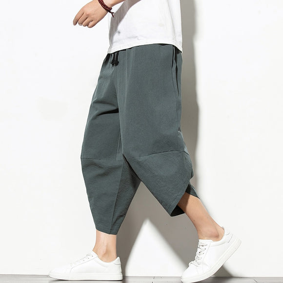 Summer Cotton Harem Pants Men Casual Hip Hop Trousers Drawstring Cross Bloomers Calf-Length Pants Joggers Streetwear - X-Marks