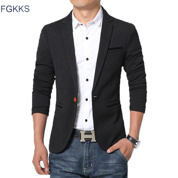 FGKKS New Arrival Luxury Men Blazer New Spring Fashion Brand Slim Fit Men Suit Terno Masculino Blazers Men - X-Marks