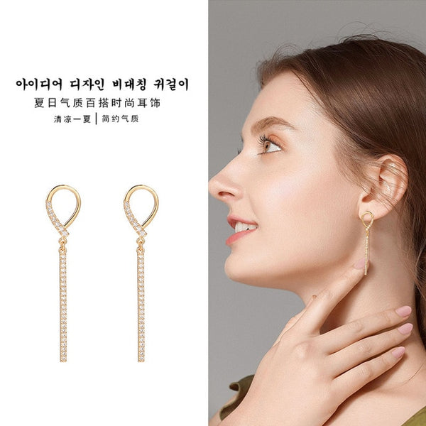 2020 New Long Crystal Tassel Gold Color Dangle Earrings for Women Wedding Drop Earing Fashion Jewelry Gifts - X-Marks