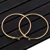 40mm 60mm 70mm 80mm Exaggerate Big Smooth Circle Hoop Earrings Brincos Simple Party Round Loop Earrings for Women Jewelry - X-Marks