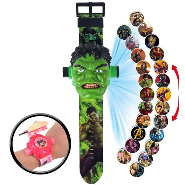 Children Watch The 3D Projection Cartoon Ultraman Spiderman Ironman Princess  Digital Watches  Kids Watches Toy - X-Marks