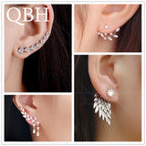 New Fashion Simulated Pearls Pendientes Bijoux Angel Wings Leaf Feather Flowers Stud Earrings For Women Wedding Jewelry Brincos - X-Marks