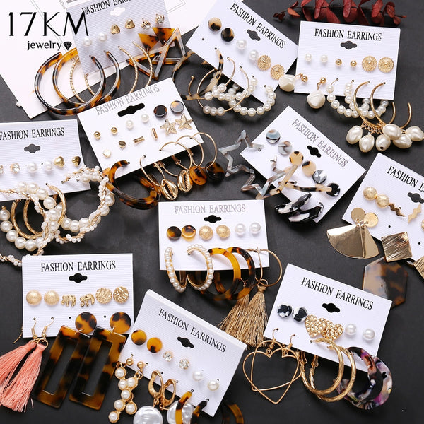17KM Vintage Tassel Acrylic Earrings For Women Bohemian Earrings Set Big Dangle Drop Earring 2020 Brincos Female Fashion Jewelry - X-Marks