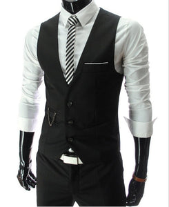 2020 New Arrival Dress Vests For Men Slim Fit Mens Suit Vest Male Waistcoat Gilet Homme Casual Sleeveless Formal Business Jacket - X-Marks