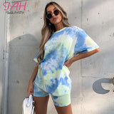 IAMHOTTY   Tie Dye Print Basic Tshirt Shorts Two Piece Set Women Casual Outfits lounge Wear Jogging Femme Biker Shorts Tees Summ - X-Marks