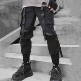 2020 new hip-hop jogger men's black harem overalls multi-pocket ribbon men's sports pants streetwear casual men's casual pants - X-Marks