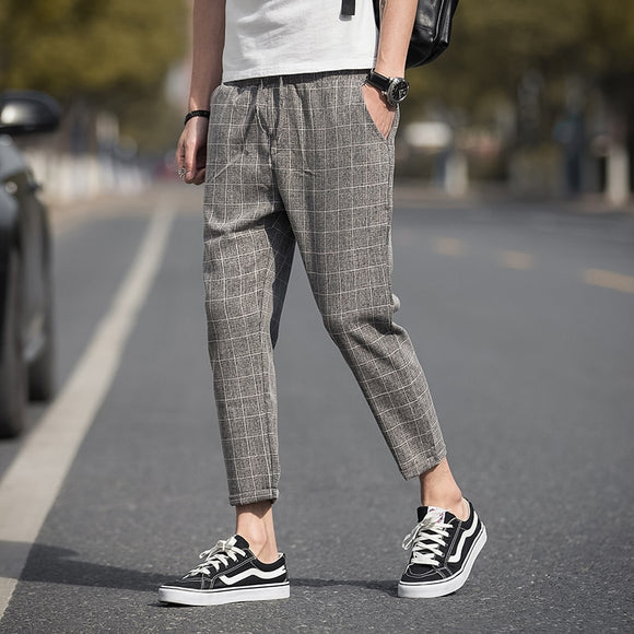 Casual Ankle-Length Plaid Pants Men Trousers Streetwear Jogger Pants Men Sweatpants Slim Fit Men Pants 2020 New - X-Marks