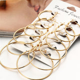 2020 New 6 Pairs/set Vintage Rose Gold Multiple Dangle Big Circle Hoop Earrings for Women Jewelry Steampunk Ear Clip Gift - X-Marks