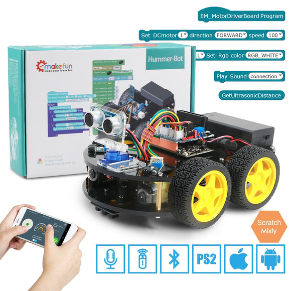 Emakefun For Arduino Robot 4WD Cars APP RC Remote Control Bluetooth Robotics Learning Kit Educational Stem Toys for Children Kid - X-Marks