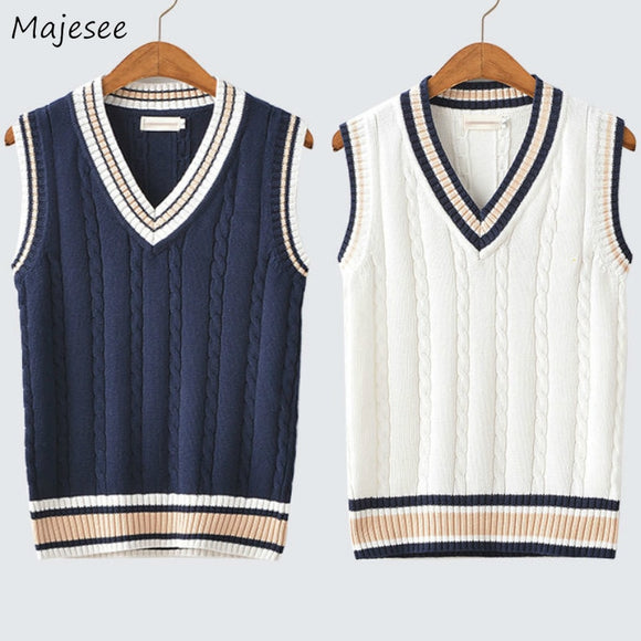 Sweater Vest Men Autumn Winter Plus Velvet V-neck Striped Big Size 5XL Oversize Mens Couples Preppy Style Students Vests Ulzzang - X-Marks