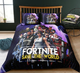 3D Cartoon Bedding Suit Fortnites Quilt Cover Fortress Night Printed Bed Spead Child Bedroom Bed Duvet Cover Bedclothes 3pcs Set - X-Marks