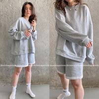 Womens Tracksuits 2 Piece Set Summmer Autumn Oversize Sweatshirt + Sporting Shorts Sweat Set Two Piece Outfit Solid Color Sets - X-Marks