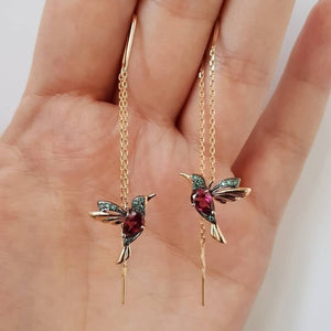 NPKDS 2 Style Elegant Birdie Ear Stud Earrings Rhinestone Dangle Long Tassels Earring for Women Hoop earrings Wedding Jewelry - X-Marks