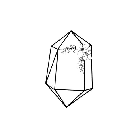 Black and white drawing of an amethyst crystal by Wild Planet Aromatherapy