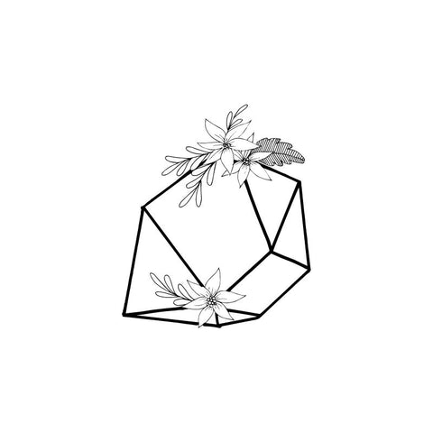 Black and white drawing of Citrine crystal by Wild Planet Aromatherapy