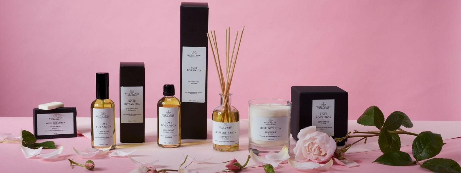 Rose Botanica Reed Diffuser, Room Spray, candle and wax melts  by Wild Planet Aromatherapy next to fresh rose buds and rose petals on pink background