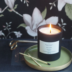 Lit Matt black glass Escape Meditation Candle on small green tray with two matches