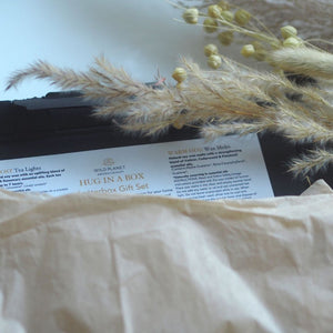 Opened Hug In A Box Letterbox Gift with information card, pampas grass, tissue paper by Wild Planet