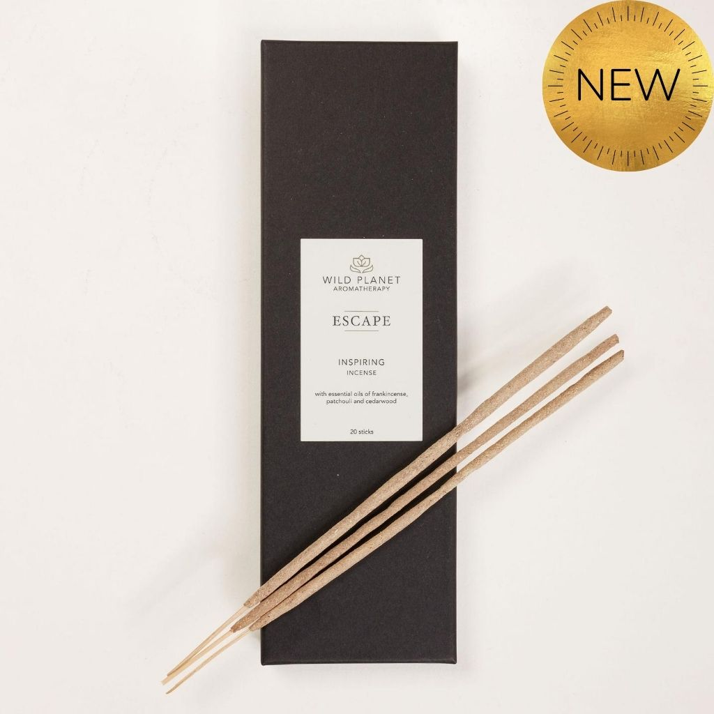 Escape Meditation Incense Sticks box of 20 with 2 sticks on top of black box packaging