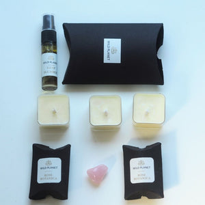 Contents of New Mum Letterbox gift, 3 tea lights, Pillow Mist, Wax Melts, Rose Quartz by Wild Planet