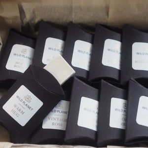 Opened Wax Melt Selection Luxury Letterbox Gift showing ten wax melts by Wild Planet Aromatherapy