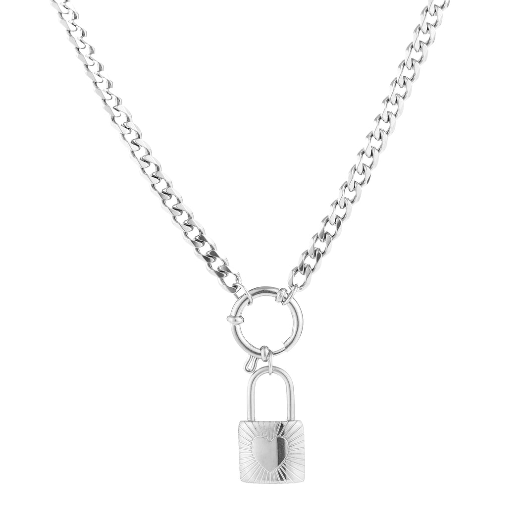 Chunky heart lock necklace