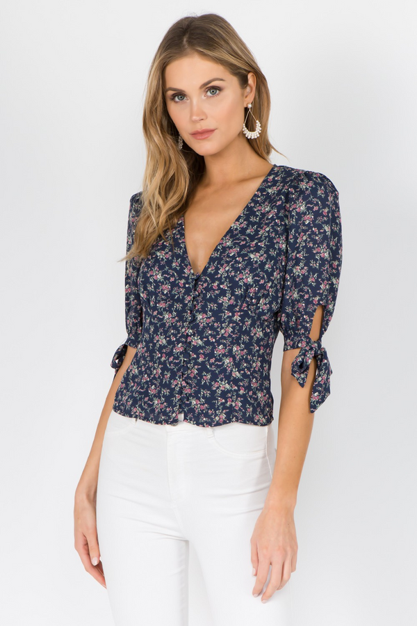Doreen Top in Blue Floral