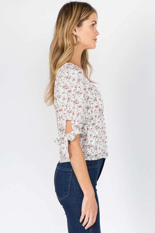 Doreen Top in White Floral