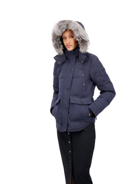ANGUILLE JACKET NAVY W FROST FUR-PARKA-MOOSE KNUCKLES-S-Janan Boutique
