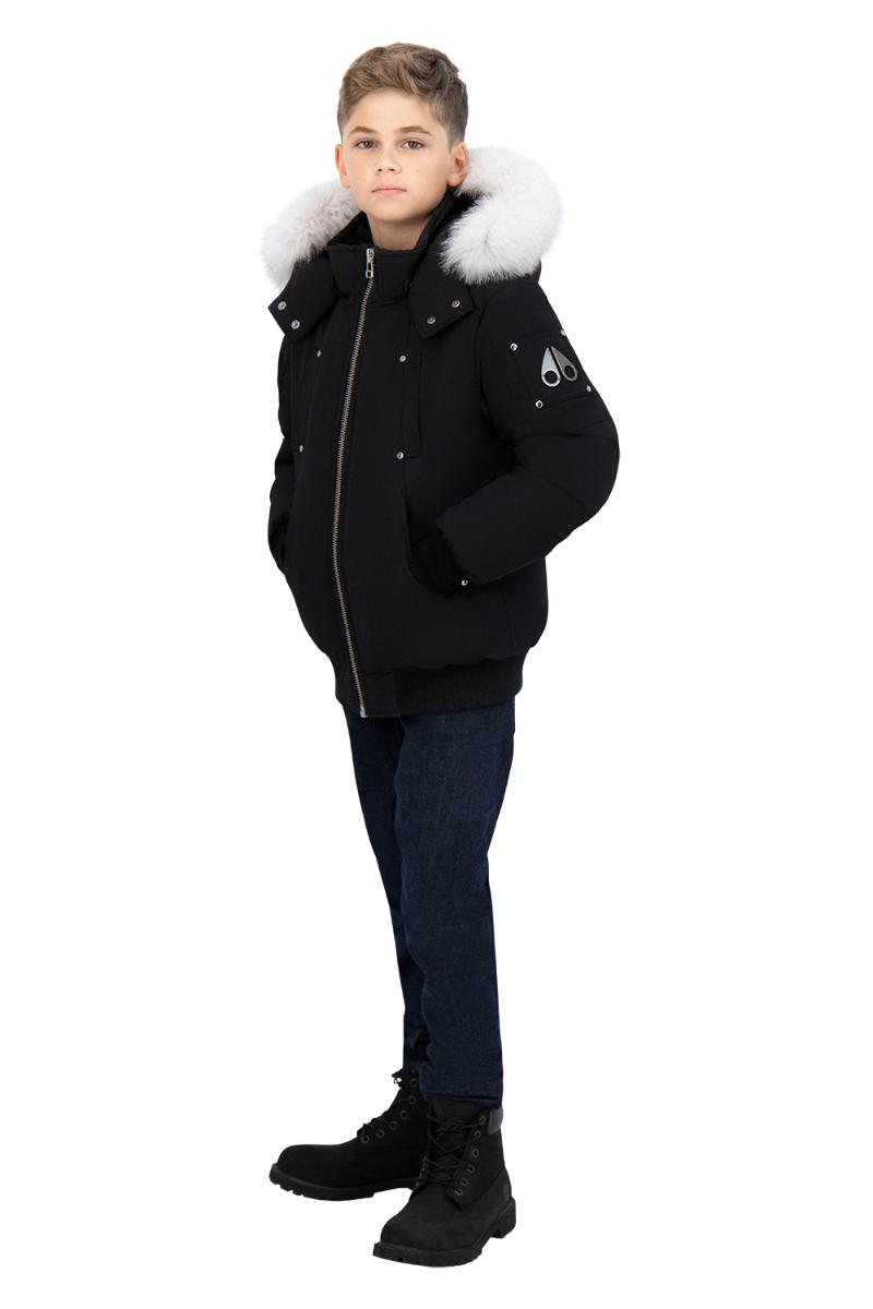 Boys Bomber Black w Natural Fur-PUFFER-MOOSE KNUCKLES-L-Janan Boutique
