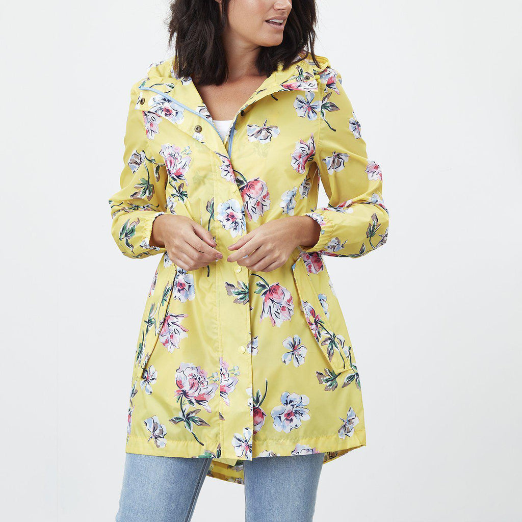 Joules Golightly Waterproof Packable Jacket Yellow Floral-FUNCTIONAL-JOULES-4-Janan Boutique