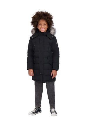 UNISEX KIDS PARKA BLACK WITH FROST FUR-PARKA-MOOSE KNUCKLES-XL-Janan Boutique