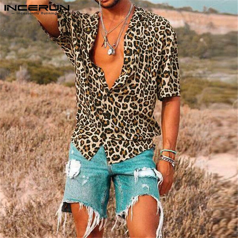 Summer Short Sleeve Leopard Print Shirt Men Lapel Neck Loose Button Up Blouse Breathable Streetwear Sexy Shirts Men