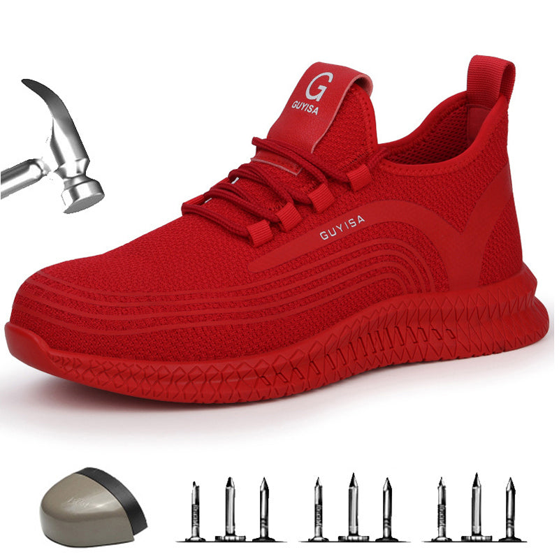 Men/'s Safety Work Shoes Steel Toe Boots Indestructible Breathable Sneakers Red