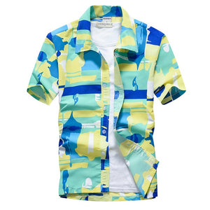 Palm Tree Printed Hawaiian Beach Shirt for Men 2019 Summer Short Sleeve 5XL Aloha Shirts Mens Holiday Vacation Clothing Chemise
