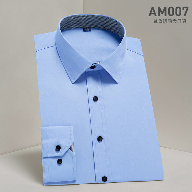 Hot Sale High Quality Men Shirt Long Sleeve Twill Solid Causal  Formal Business Shirt Brand Man Dress Shirts