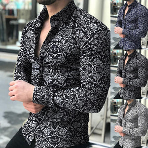 Fashion Shirts For Men Long Sleeve Floral Print Shirt Autumn Shirts