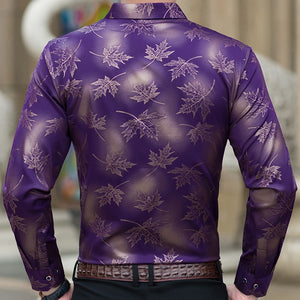 new social long sleeve maple leaf designer shirts men slim fit vintage fashions men's shirt man dress jersey clothing