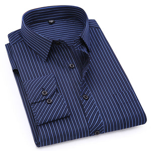 Mens Business Casual Long Sleeved Shirt Classic Striped Male Social Dress Shirts Purple Blue