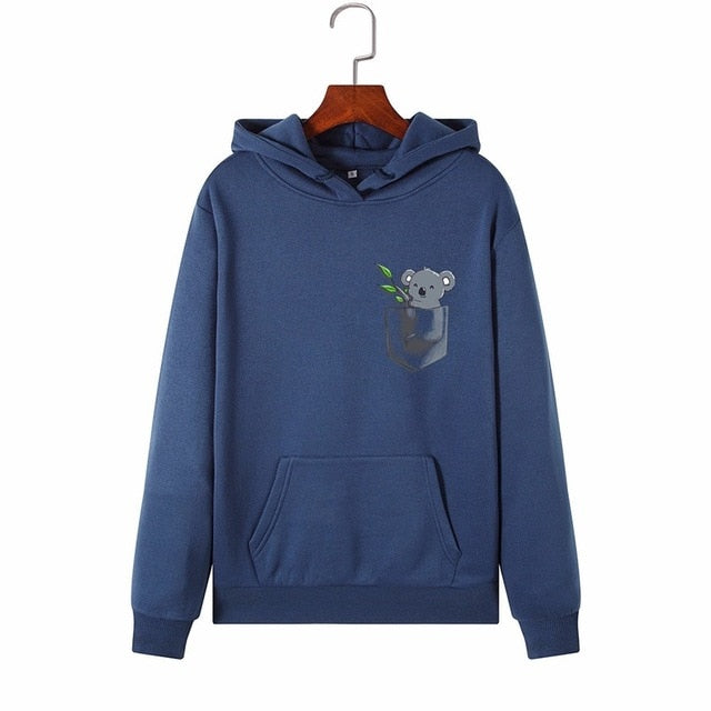 Cute Koala Hoodie With Fleece Interior for Women