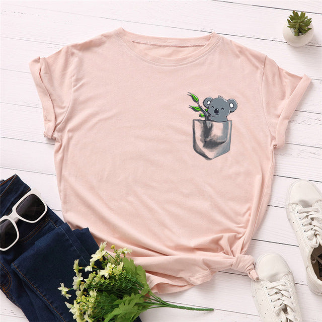 Cotton Top Cute Koala Print T shirt for Women