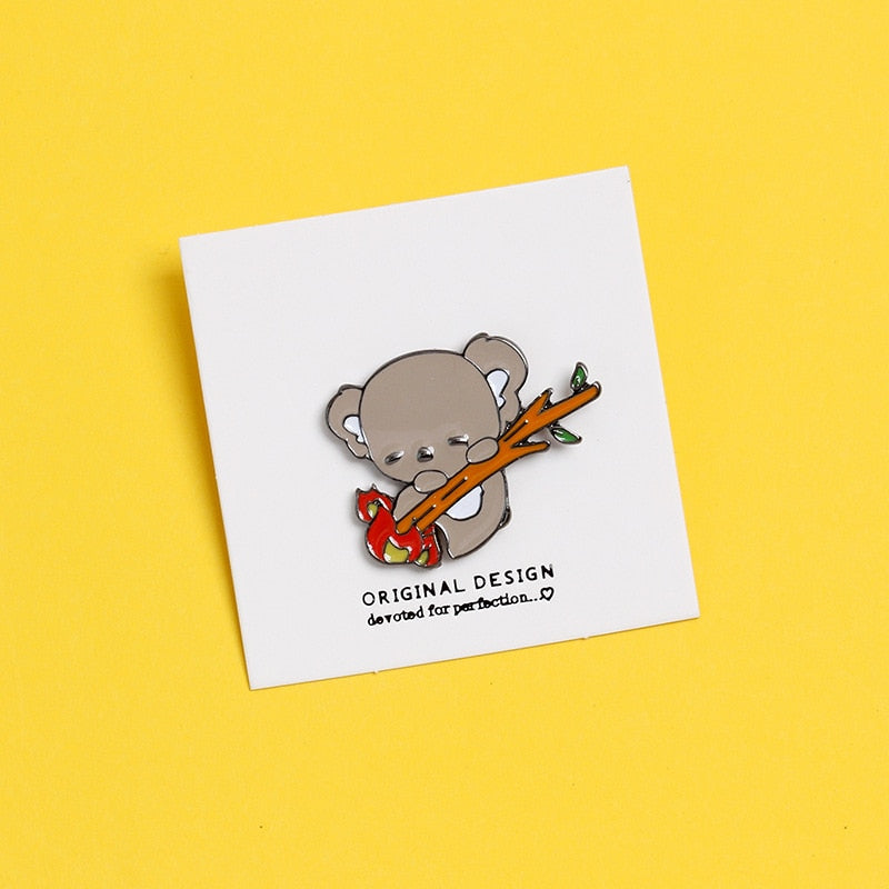 Koala on a Burning Brooch Enamel Pin Badge