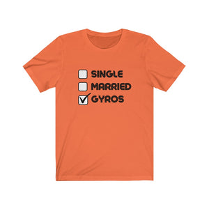 Single, Married, Gyros Unisex Jersey Short Sleeve Tee